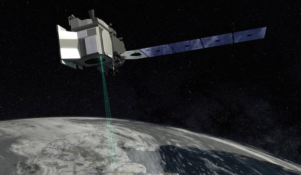 Artist's image of NASA's ICESat-2 spacecraft above Earth.