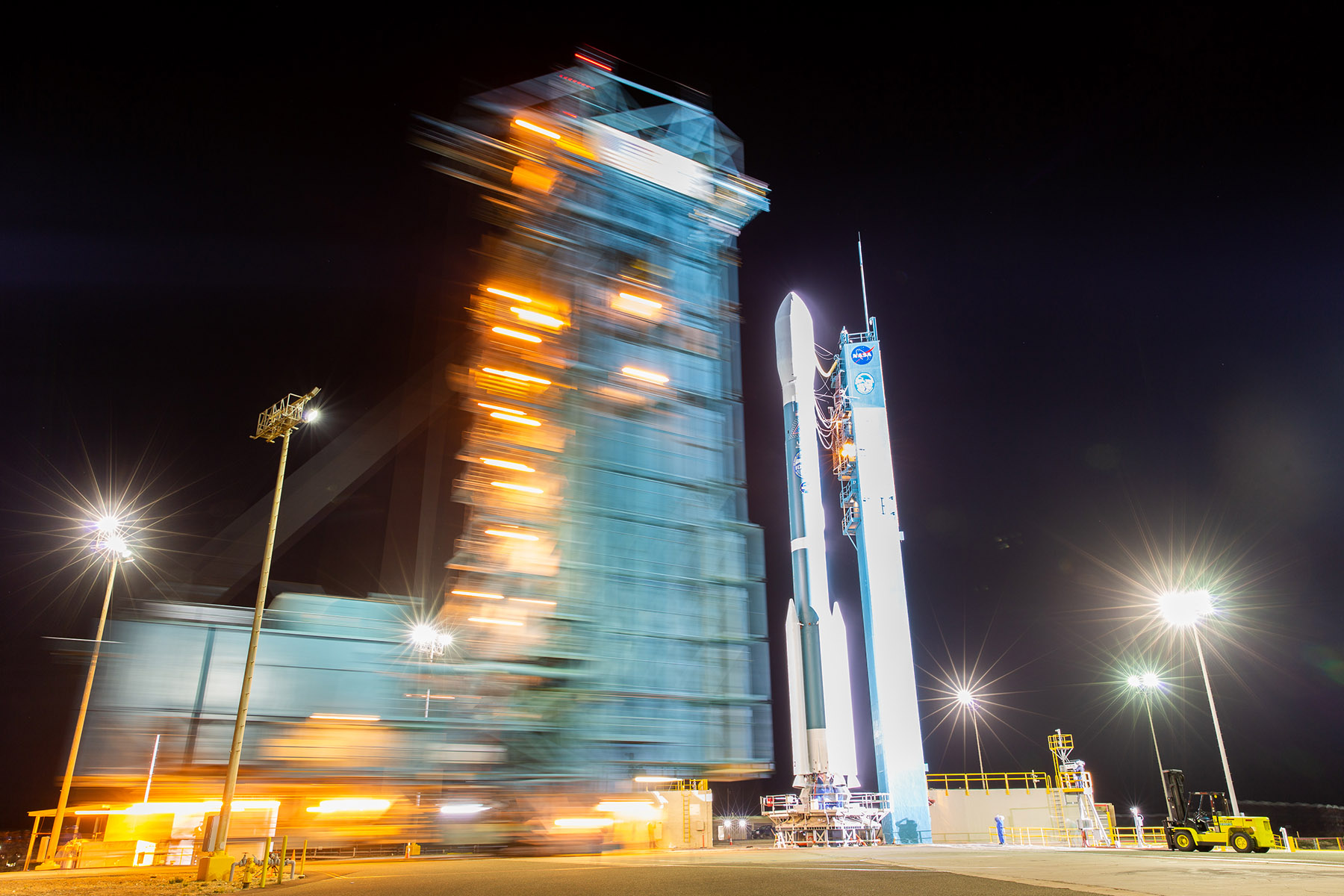 A United Launch Alliance Delta II rocket carrying NASA's ICESat-2 spacecraft stands poised for launch.