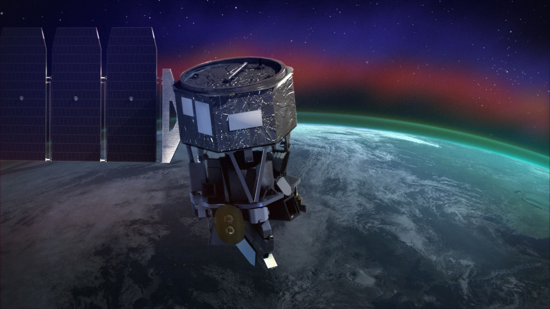 Artist image of NASA's ICON satellite.
