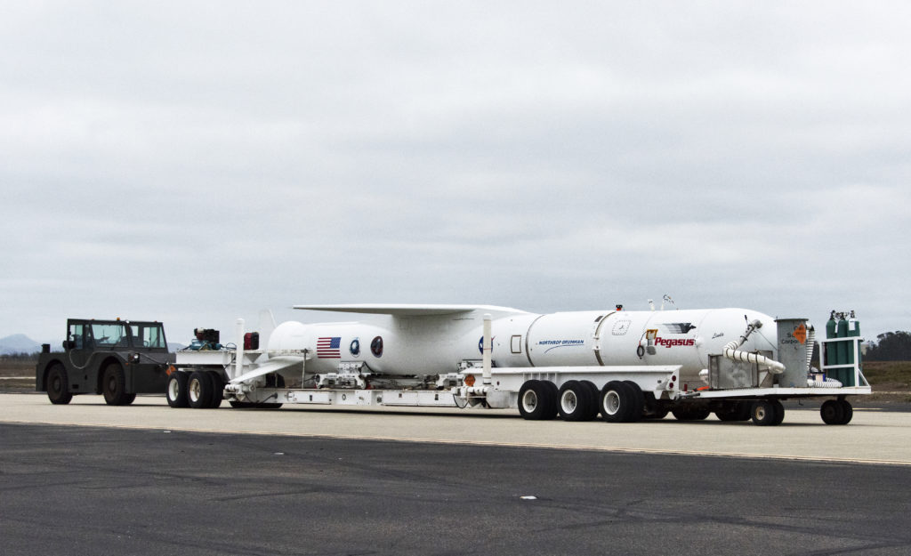 Northrop Grumman's Pegasus XL rocket, containing NASA's Ionospheric Connection Explorer, or ICON, is transported to the hot pad at Vandenberg Air Force Base on Oct. 14, 2018. Pegasus will be attached beneath the company's L-1011 Stargazer aircraft for the trip to Cape Canaveral Air Force Station in Florida. The Pegasus XL rocket will launch ICON from the Skid Strip at the Cape. Photo credit: USAF 30th Space Wing/Tony Vaulcin
