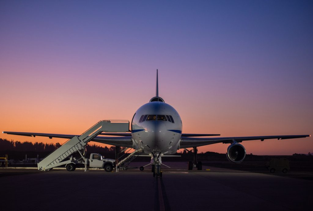Backdropped by a twilight sky, Northrop Grumman's L-1011 Stargazer undergoes final preparations prior to its takeoff from Vandenberg Air Force Base in California on Oct. 1, 2019.