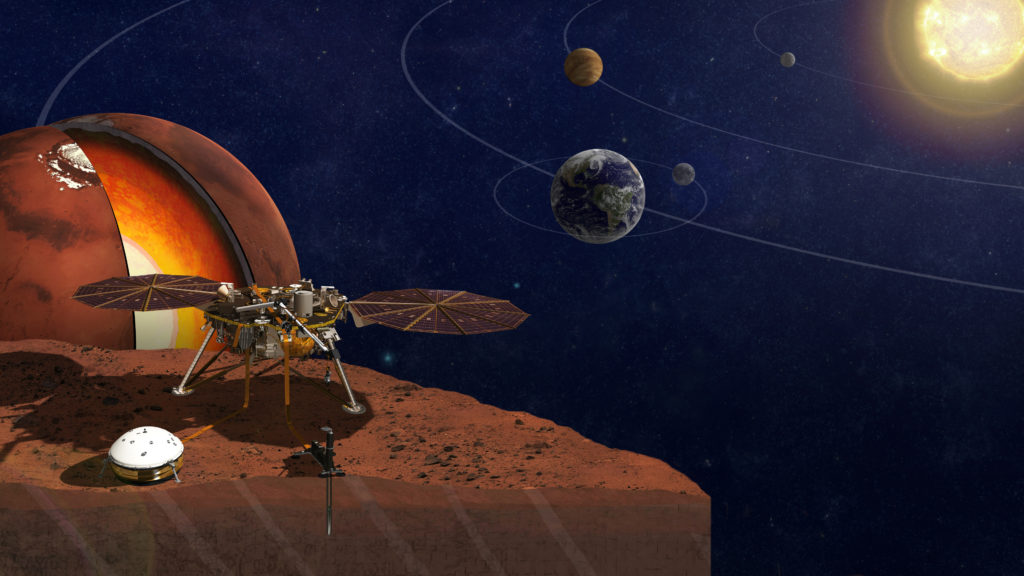 Artist image of the InSight spacecraft exploring a rocky planet such as Mars.