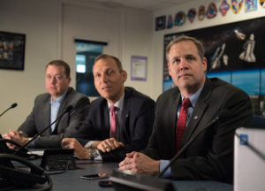 "NASA Administrator Jim Bridenstine, right, NASA Associate Administrator for the Science Mission Directorate, Thomas Zurbuchen, center, and NASA Chief Financial Officer, Jeff DeWit, watch the launch of NASA's InSight spacecraft on a United Launch Alliance (ULA) Atlas-V rocket Saturday, May 5, 2018 at NASA Headquarters in Washington. InSight, short for Interior Exploration using Seismic Investigations, Geodesy and Heat Transport, is a Mars lander designed to study the ""inner space"" of Mars: its crust, mantle, and core."