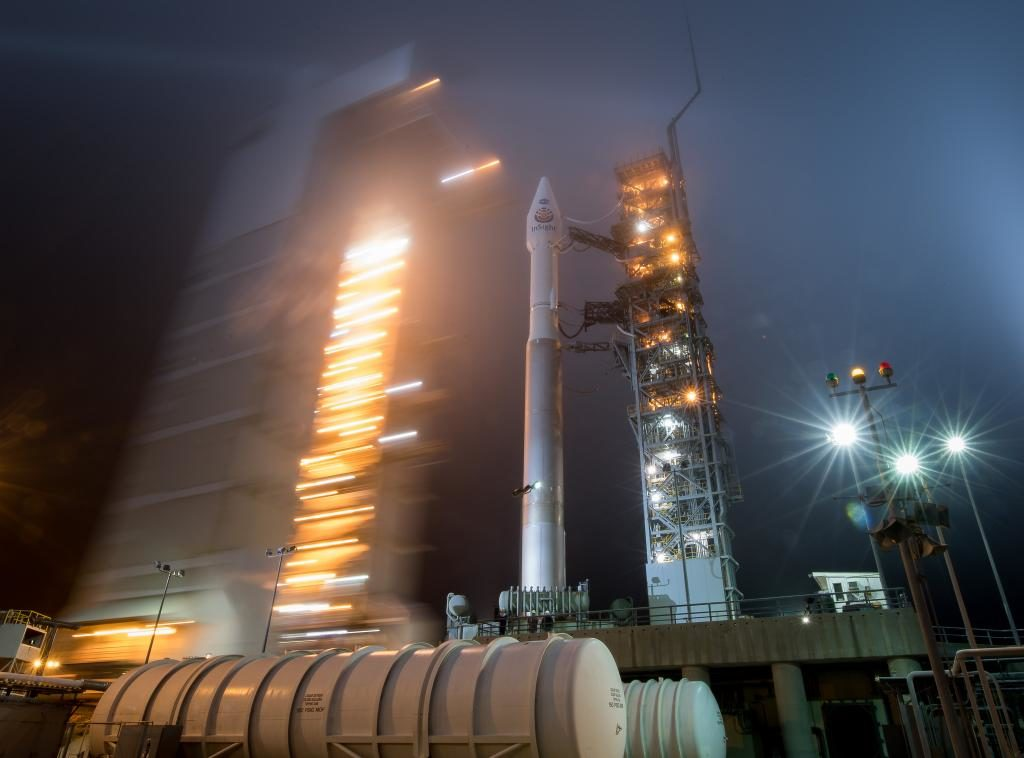 The mobile service tower is rolled back from the United Launch Alliance Atlas V rocket with NASA's InSight spacecraft at Space Launch Complex-3 at Vandenberg Air Force Base in California.