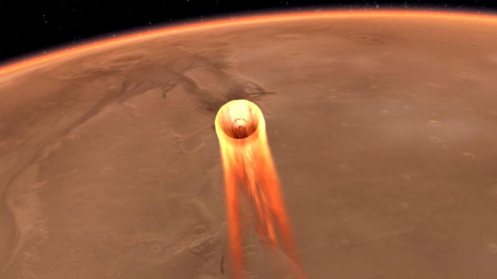 An artist's impression of NASA InSight's entry, descent and landing at Mar