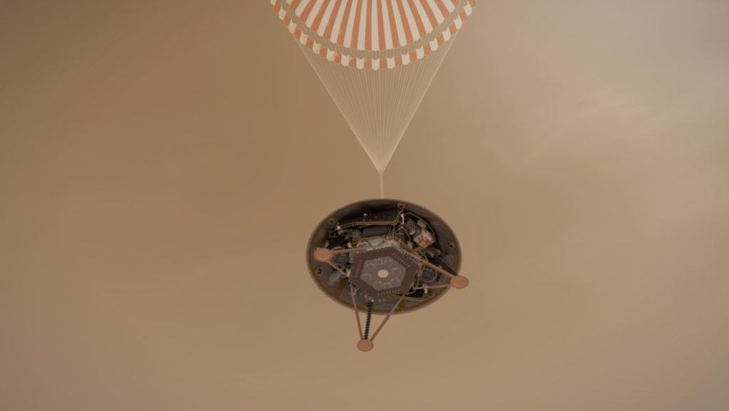 illustration shows a simulated view of NASA's InSight lander
