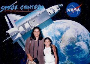 Tanya Gupta and her mother at Space Center Houston in 2005