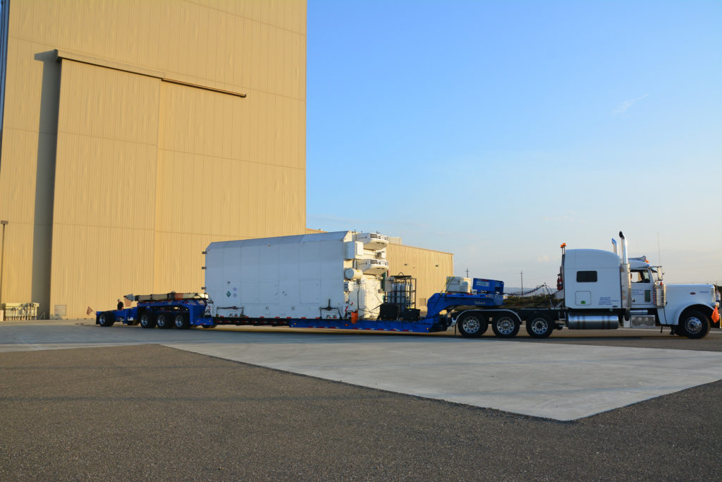 NASA's Joint Polar Satellite System-1, or JPSS-1, arrives at the Astrotech Processing Facility at Vandenberg Air Force Base in California.