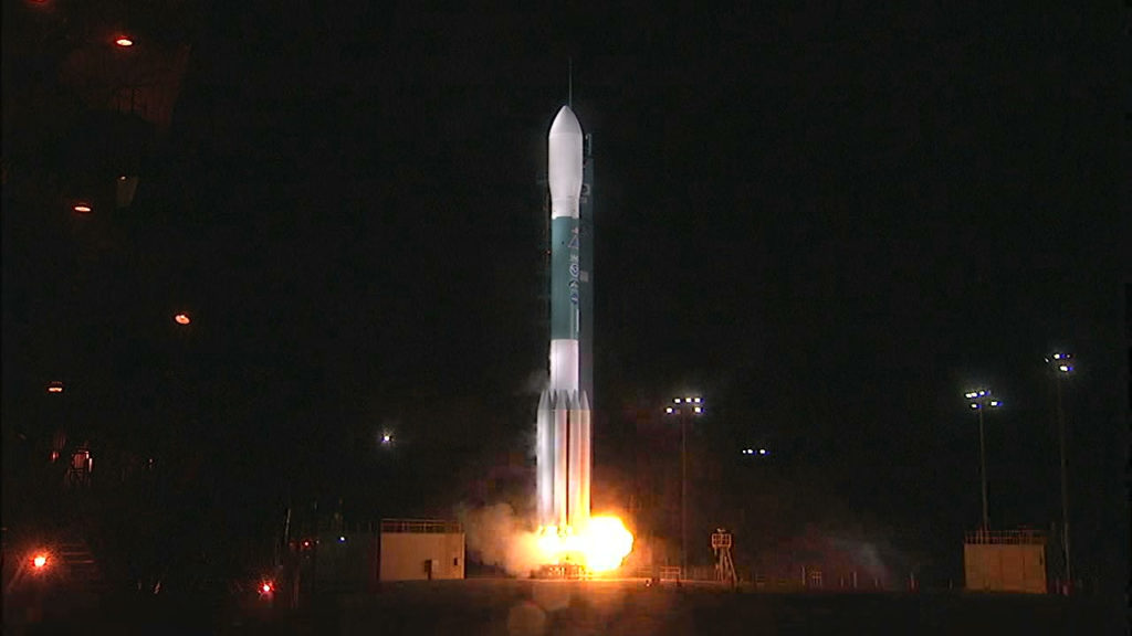 Liftoff of the United Launch Alliance Delta II rocket carrying NOAA's JPSS-1 satellite. Liftoff from Vandenberg Air Force Base in California was on time at 1:47 a.m. PST on Nov. 18.