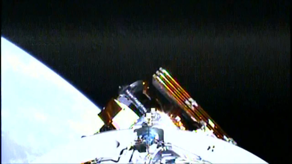 The JPSS-1 satellite is visible attached to the Delta II second stage at the time of spacecraft separation.