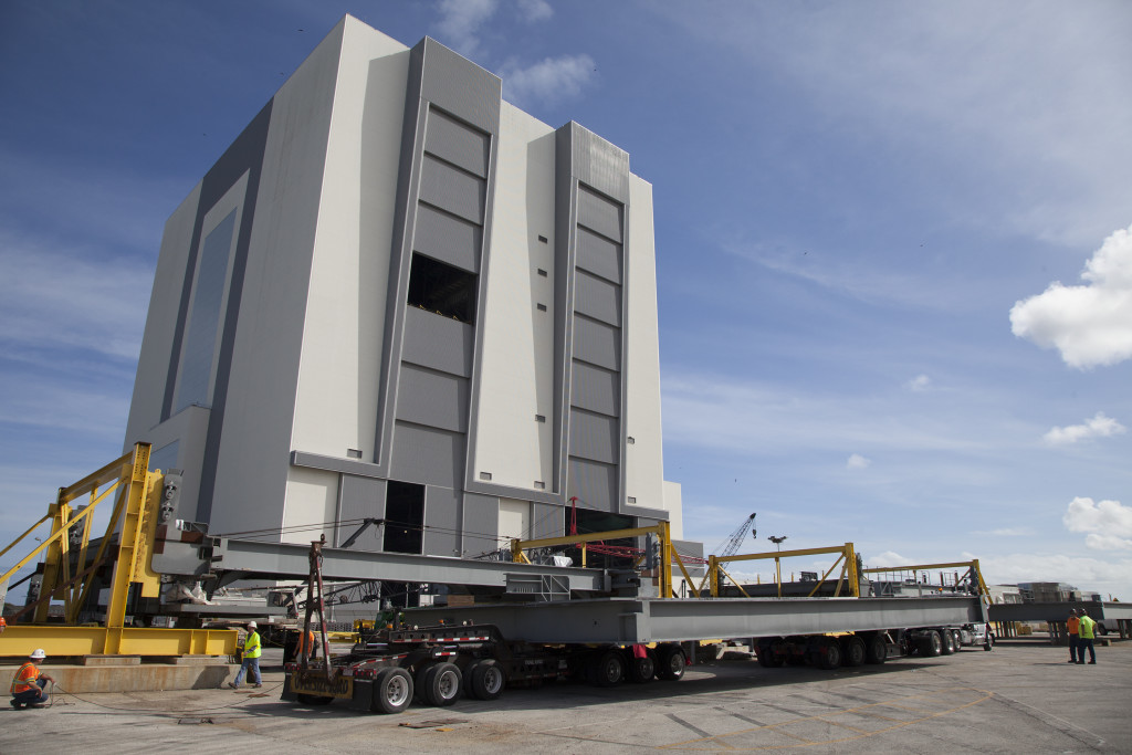 The second half of the H level work platforms for the Vehicle Assembly Building arrives at NASA's Kennedy Space Center in Florida.