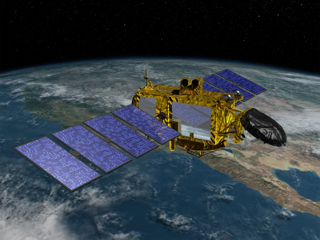Artist concept of Jason-3 in orbit with solar arrays deployed