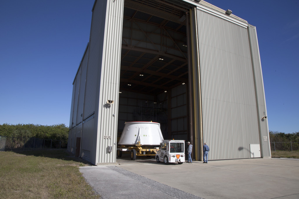 An aft skirt is moved to the RPSF facility at NASA's Kennedy Space Center.