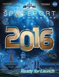 Spaceport Magazine cover for Jan. 2016 showing facilities, rockets and International Space Station