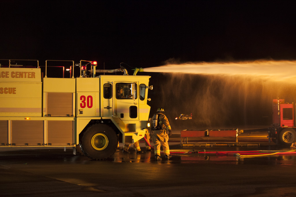 Air Rescue Fire Fighters train at the Shuttle Landing Facility (SLF) operated by Space Florida at NASA's Kennedy Space Center