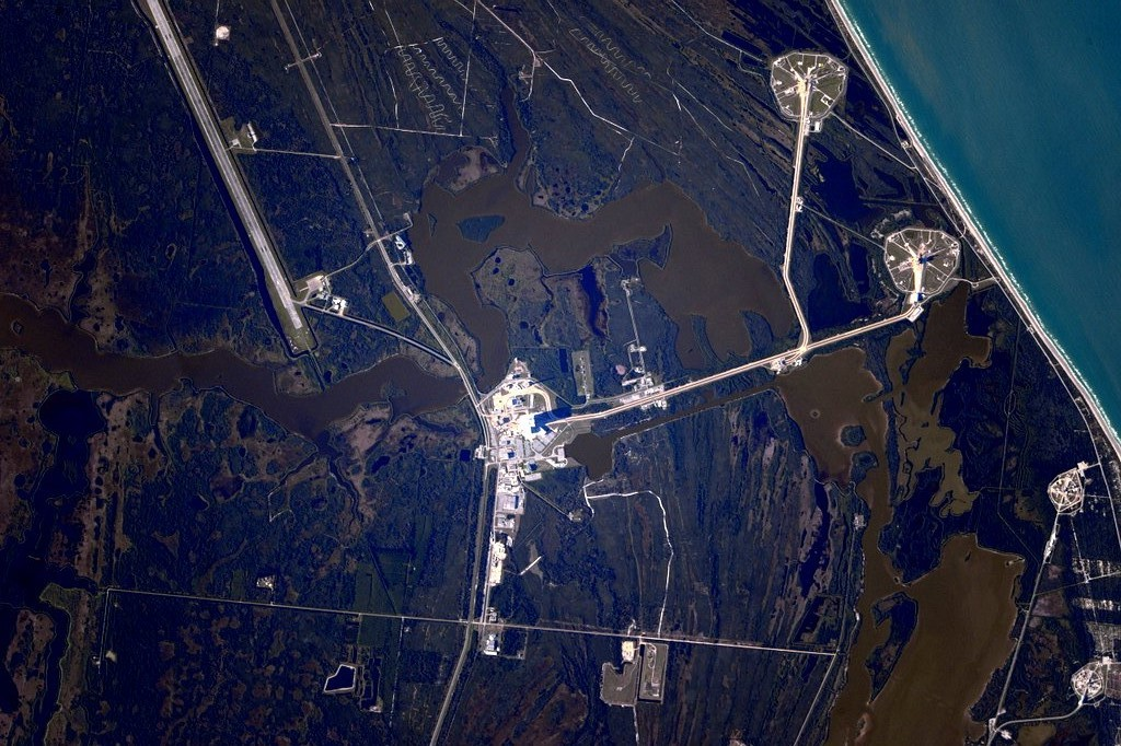 Photo of Kennedy Space Center taken from the International Space Station by NASA astronaut Scott Kelly