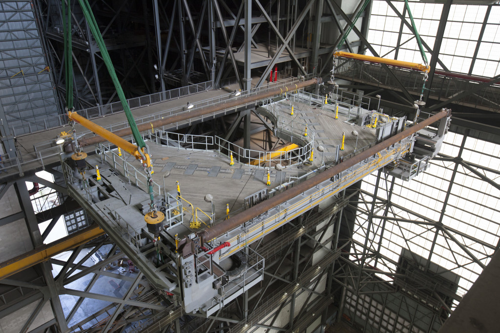 Second half of Platform J is installed in High Bay 3 in the Vehicle Assembly Building.
