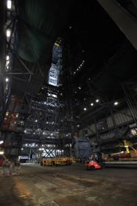 Photos inside Vehicle Assembly Building Highbay 2 and photos of the Mobile Launcher 3.