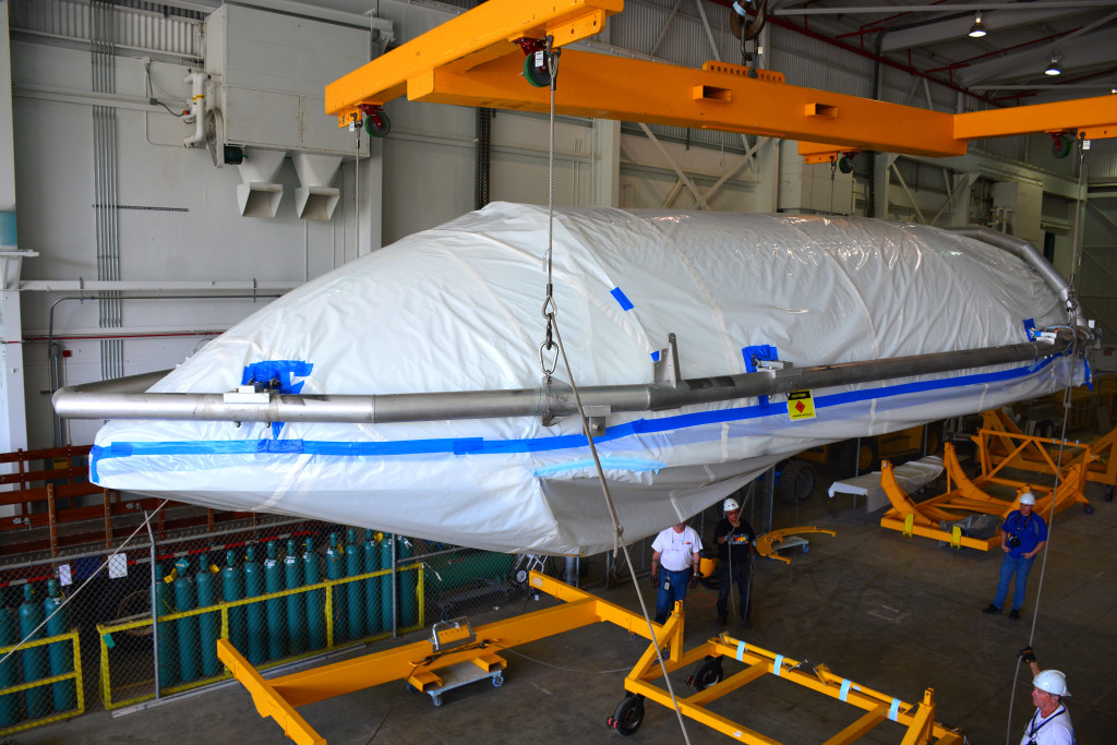 Delta II JPSS-1 fairing arrives and is offloaded at Bldg. 836, located at Vandenburg Air Force Base, California.
