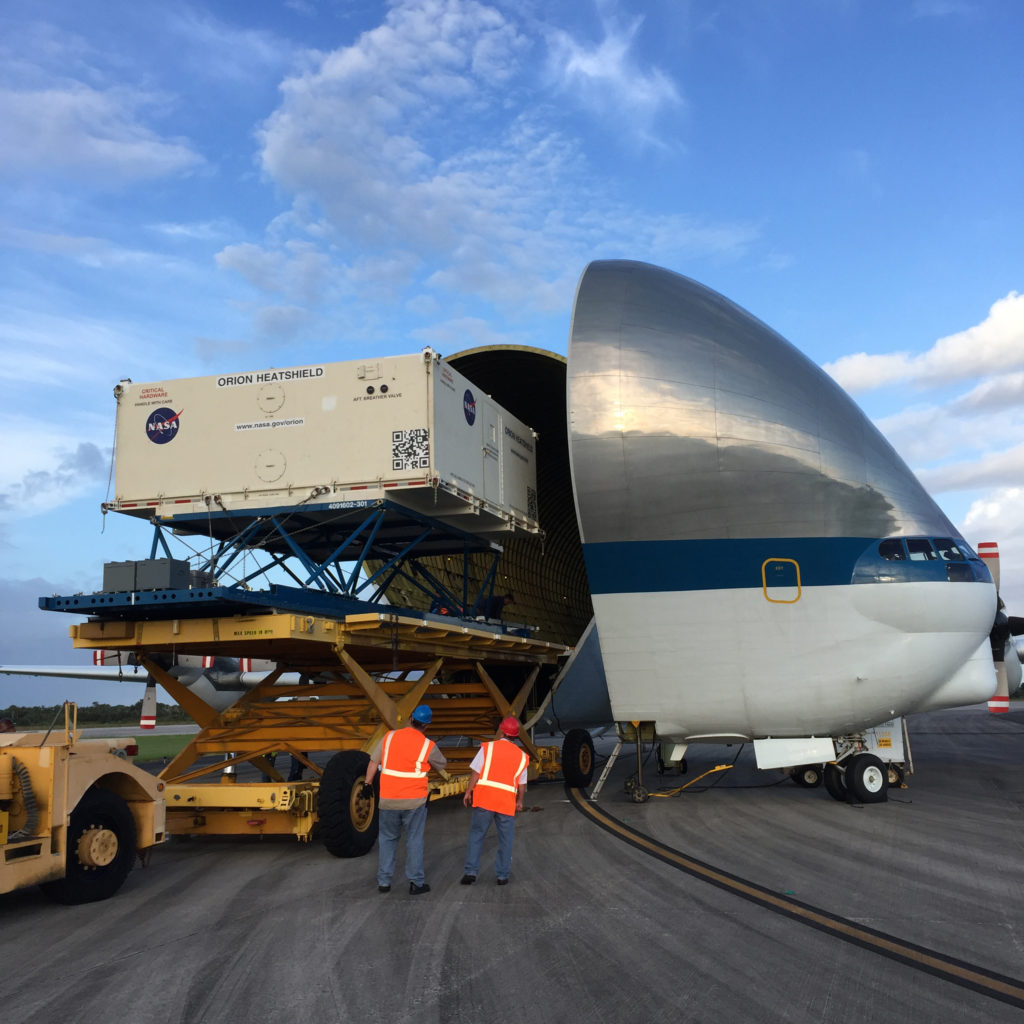 Orion heat shield for Exploration Mission 1 arrives at Kennedy Space Center.