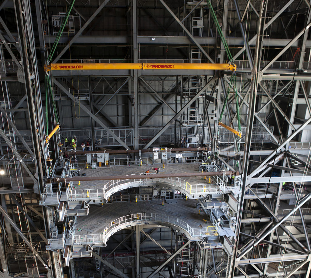 Second half of D-level platforms is installed in High Bay 3 of the Vehicle Assembly Building.