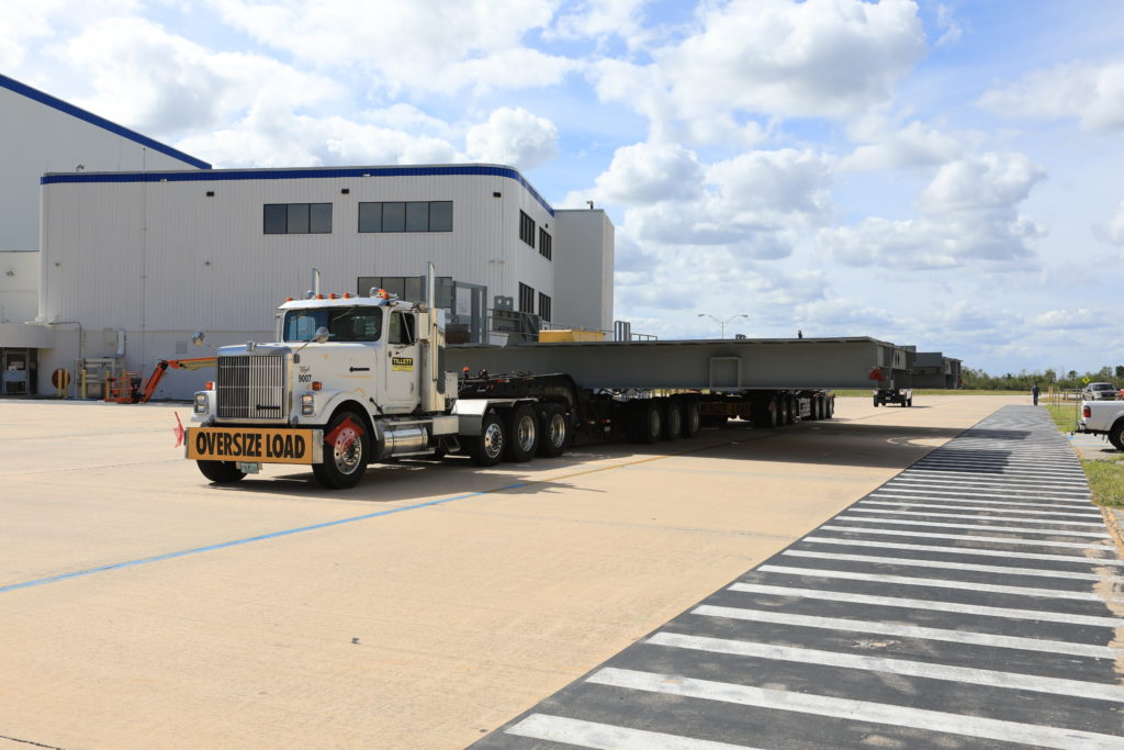 Second half of Platform B arrives at Kennedy Space Center in Florida.