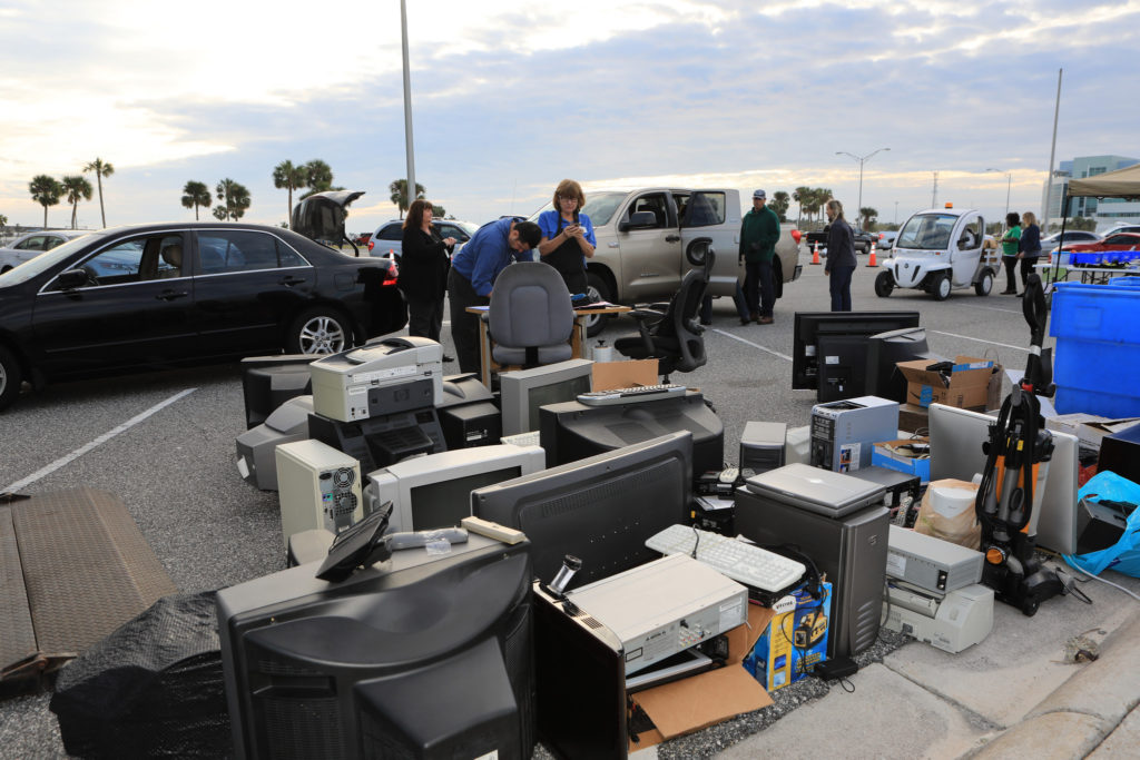 Computers, monitors, vacuum cleaners and other electronics have been donated by employees at NASA's Kennedy Space Center in Florida in conjunction with America Recycles Day.