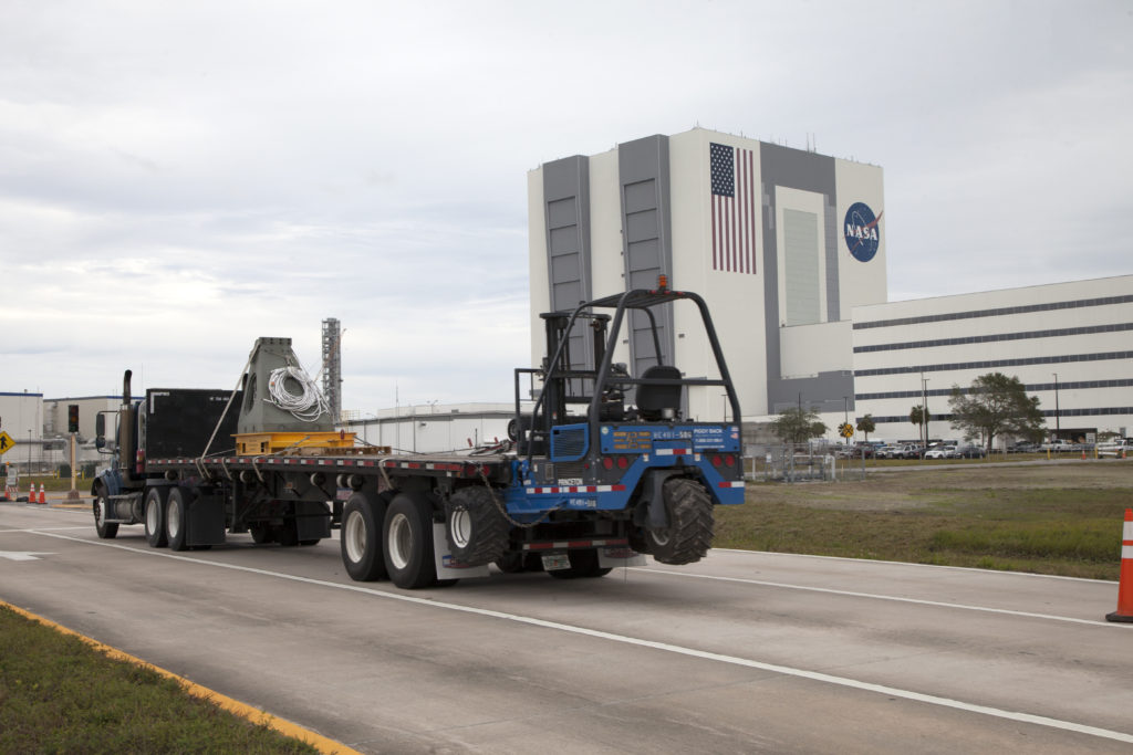 A vehicle support post is moved to the Mobile Launcher Yard at Kennedy Space Center in Florida.