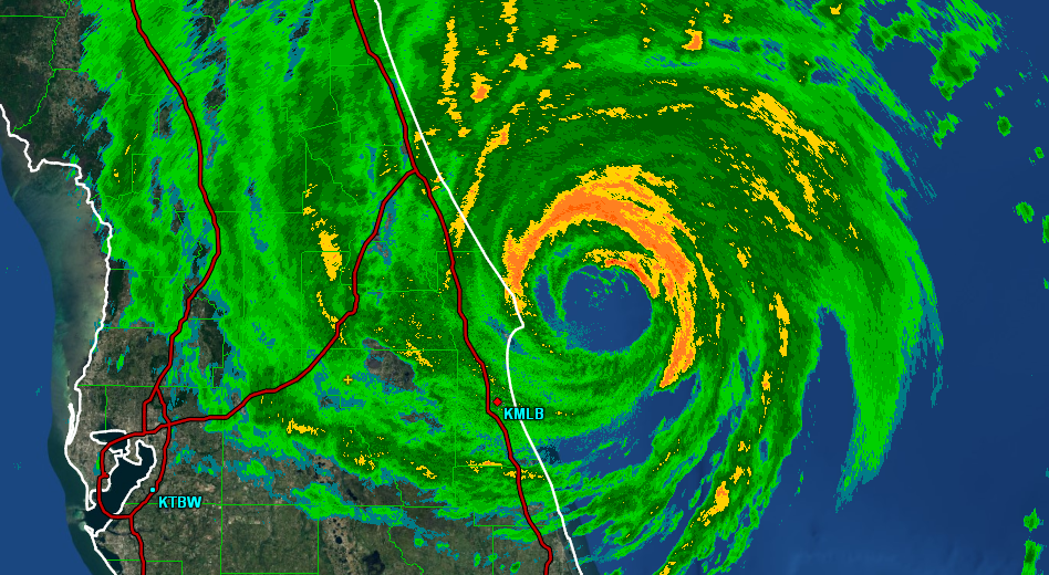 The eye of Hurricane Matthew is clearly visible in this National Weather Service radar image as the storm passed by Florida's Space Coast on the morning of Oct. 7.