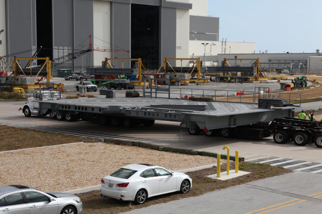 Work platform A north arrived at Kennedy Space Center in Florida on Dec. 13.