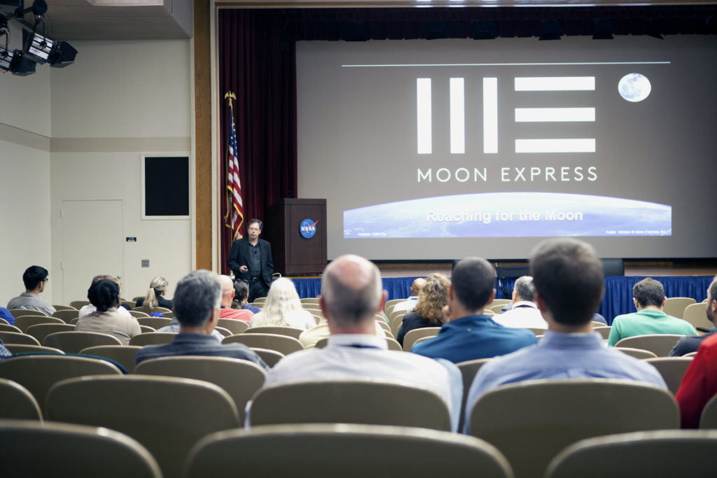 Moon Express presents during National Engineers Week events at Kennedy Space Center in Florida.