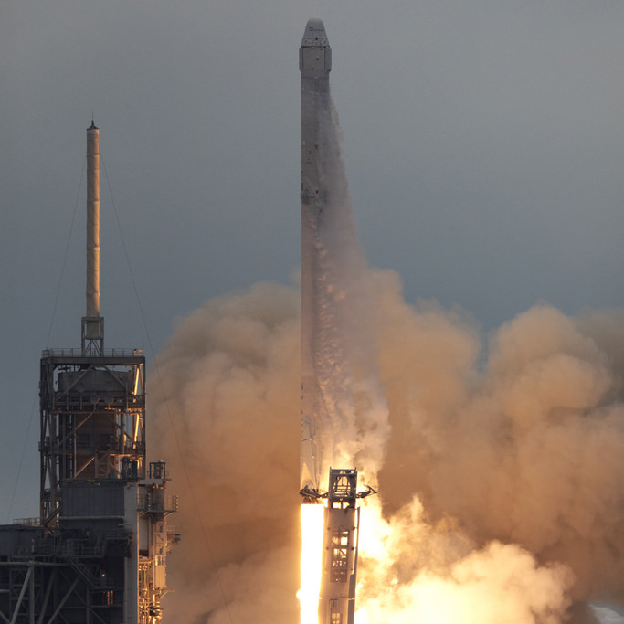 The SpaceX Falcon 9 rocket lifts off from Launch Complex 39A on the CRS-10 mission to the International Space Station