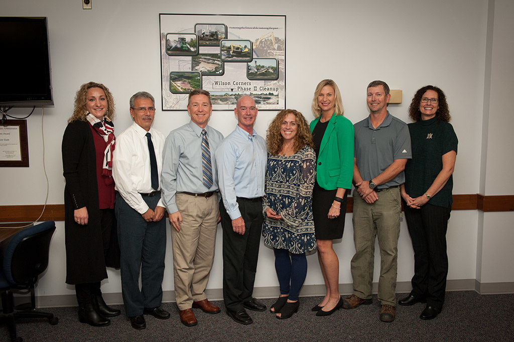 From left are Christine Herndon, Herndon Solutions Group; Nick Aleman; and Michael McDonnell; John Shaffer; Lisa Ruffe; Nancy P. Bray, Director, Spaceport Integration and Services; Timothy Mrdjenovich; and Kristina Herpich. Aleman, McDonnell, Ruffe, Mrdjenovich and Herpich were recognized for their work as Environmental Points of Contact.