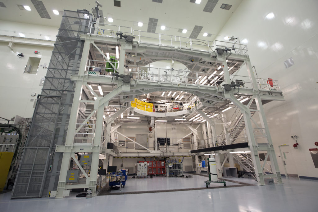 View of the service platform for Orion inside the Multi-Payload Processing Facility at Kennedy Space Center.