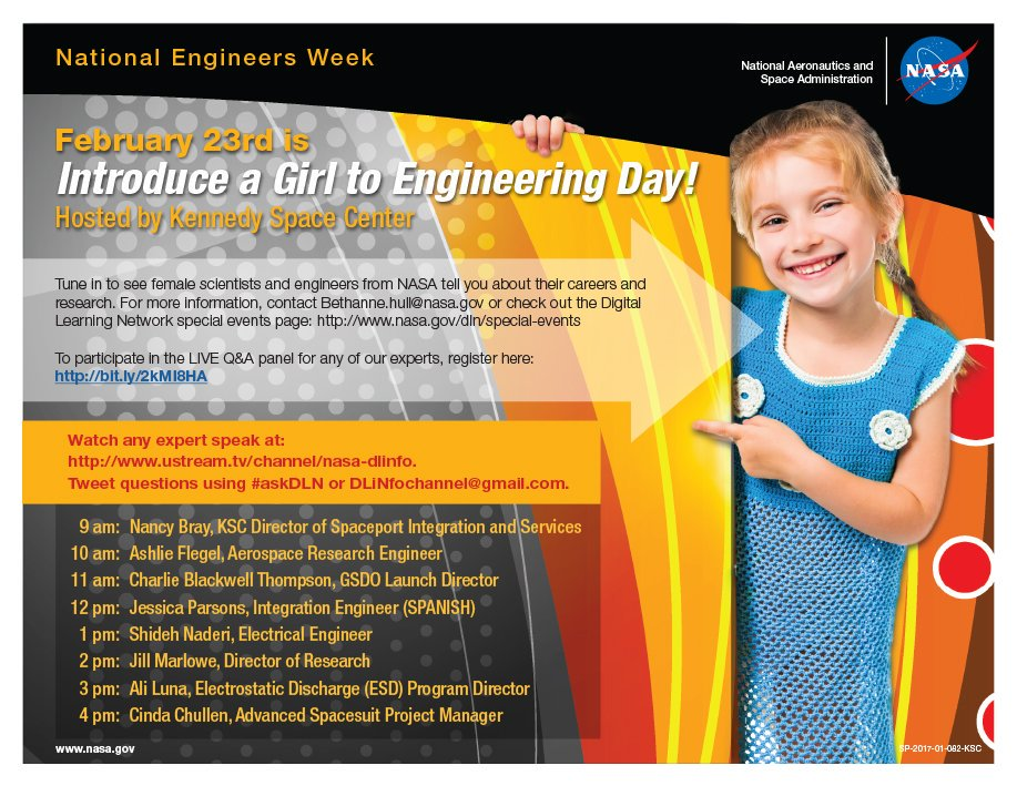 Introduce a Girl to Engineering Day flyer.