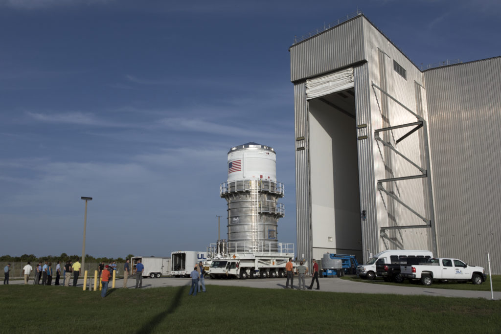 The ICPS is moved to the Space Station Processing Facility at Kennedy Space Center in Florida.
