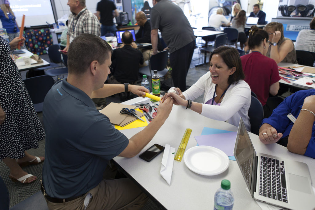 Teachers participate in the Rocketry Engineering Design Challenge during the 2017 GE Foundation High School STEM Integration Conference at the Center for Space Education at NASA's Kennedy Space Center.