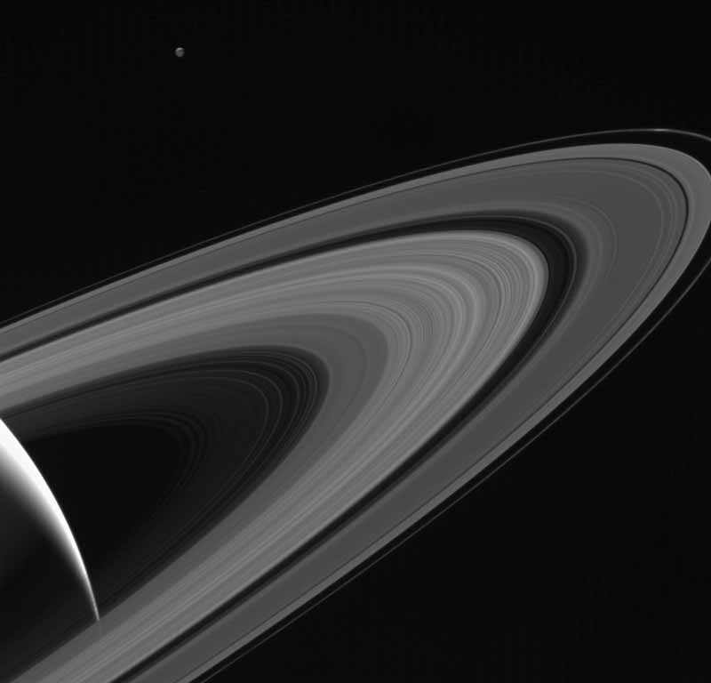 Rings of Saturn as viewed by the Cassini spacecraft.