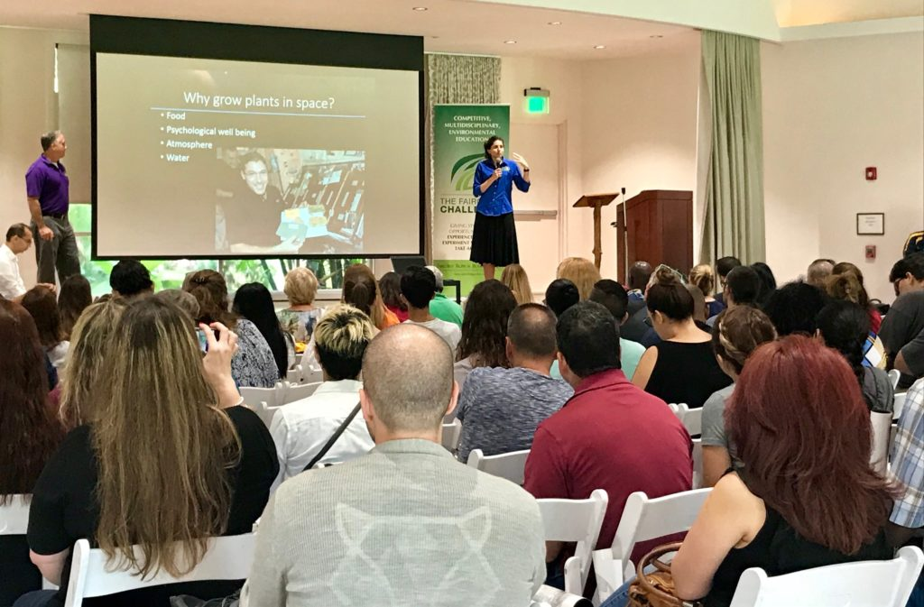 Kennedy scientists Trent Smith, left, and Dr. Gioia Massa speak to middle and high school teachers at Fairchild Tropical Botanic Garden in Miami during the kickoff of the 2017-2018 Fairchild Challenge-Growing Beyond Earth.