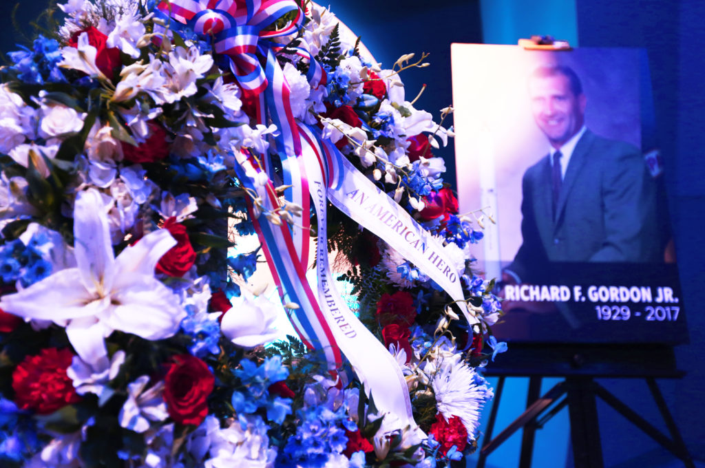 At the Heroes and Legends exhibit at the Kennedy Space Center Visitor Complex, a memorial wreath was placed following a ceremony to honor the memory of former NASA astronaut Richard Gordon. He performed two spacewalks during Gemini XI in 1966 and was command module pilot for Apollo 12 in 1969. Photo credit: NASA/Michelle Stone