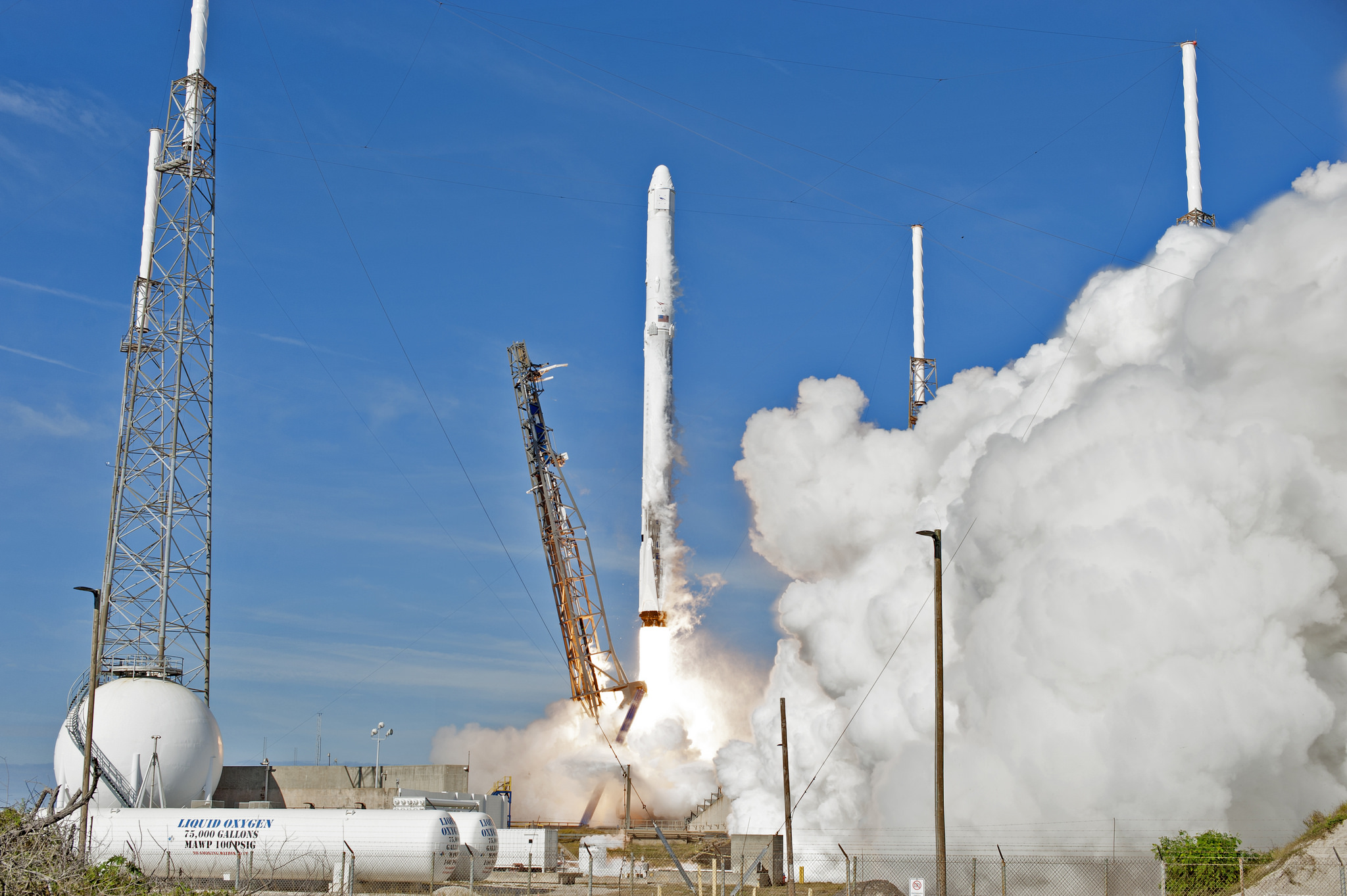The two-stage Falcon 9 launch vehicle lifts off Space Launch Complex 40 at Cape Canaveral Air Force Station carrying the Dragon resupply spacecraft to the International Space Station.