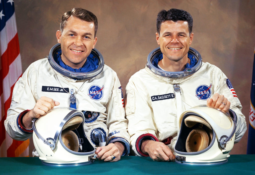 NASA astronauts Elliot See and Charles Bassett were selected to fly the Gemini IX mission in 1966.