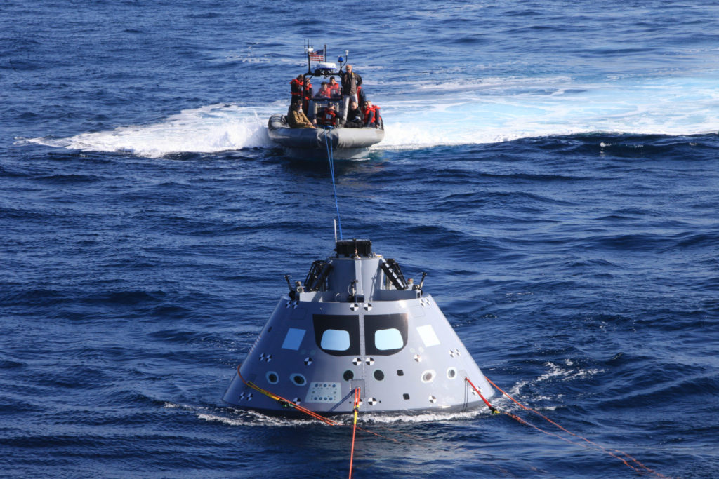 Orion Underway Recover Test 6 aboard the USS Anchorage in the Pacific Ocean.