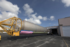 The United Launch Alliance Atlas V booster for NOAA's GOES-S mission arrives at the Atlas Spaceflight Operations Center near Space Launch Complex 41 at Cape Canaveral Air Force Station in Florida.