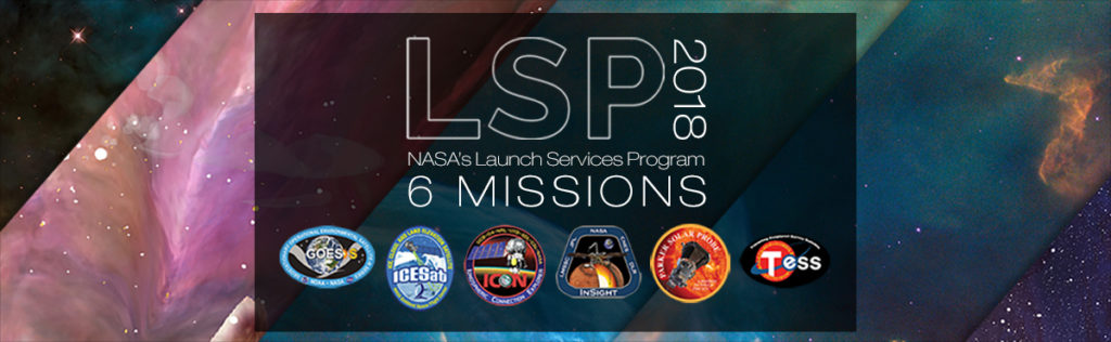 Artist illustration of six missions patches for Launch Services Program 2018 missions.