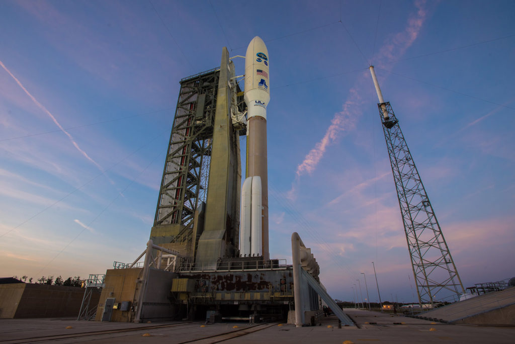 The United Launch Alliance Atlas V rocket carrying NOAA's GOES-S satellite waits for liftoff from Space Launch Complex 41 at Cape Canaveral Air Force Station.