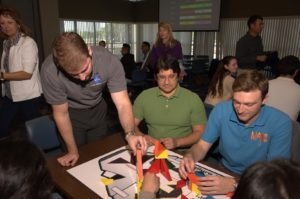 Kennedy Space Center interns participate in team-building activities.