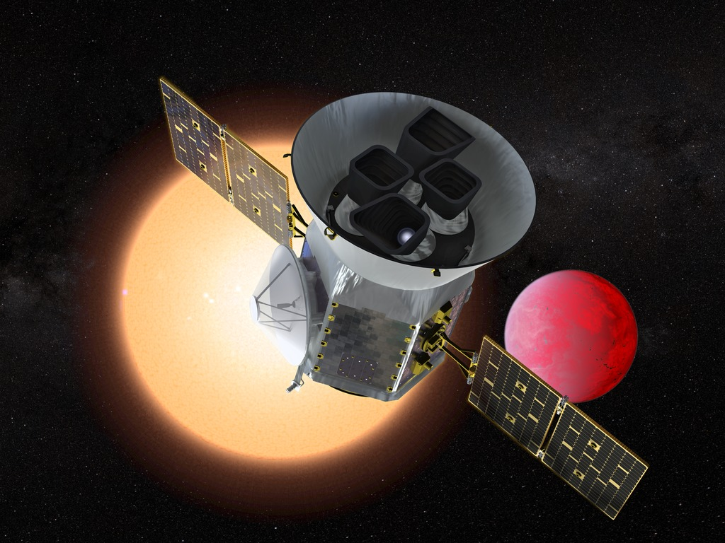 Artist concept of TESS in front of a lava planet orbiting its host star. Photo credit: NASA's Goddard Space Flight