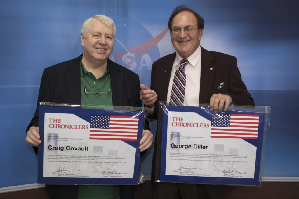 "Craig Covault, left, and George Diller were honored as ""Chroniclers"" during an event at Kennedy Space Center's NASA News Center on Friday, May 4. The longtime friends combined for more than 80 years of U.S. space exploration news reporting. ""Chroniclers"" recognizes retirees of the news and communications business who helped spread news of American space exploration from Kennedy for 10 years or more."