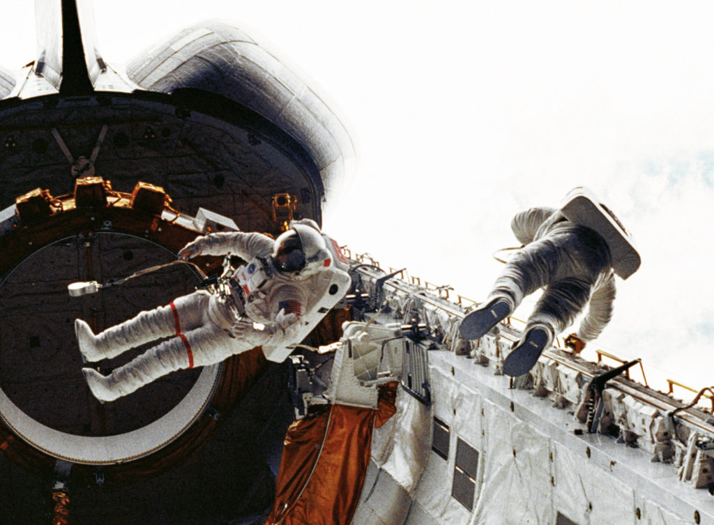 First Space Shuttle Spacewalk